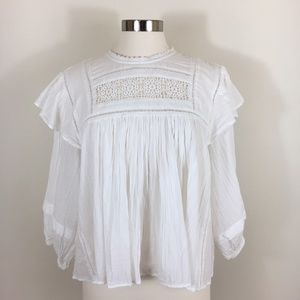 Free People Laura Cotton Ruffled Top in Ivory